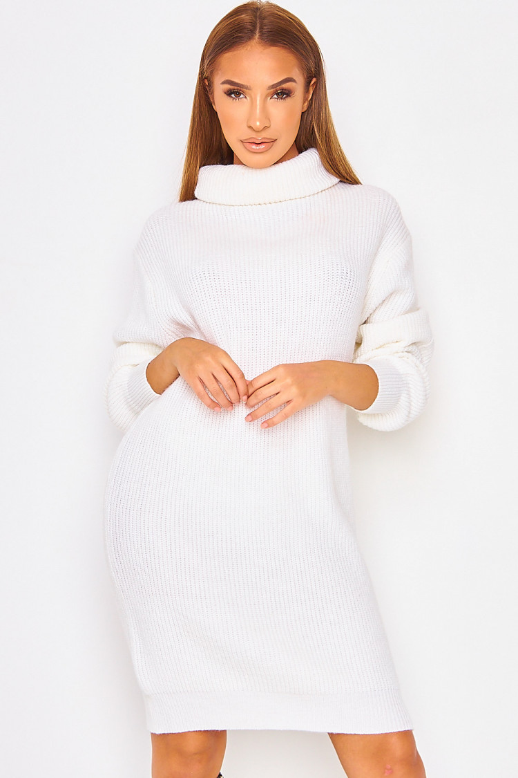 Robe Pull En Maille Blanche A Col Roule Brentiny Paris