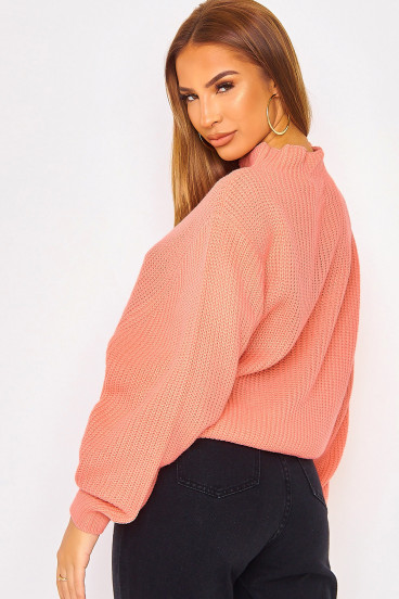 Pull rose saumon à grosses mailles manches amples