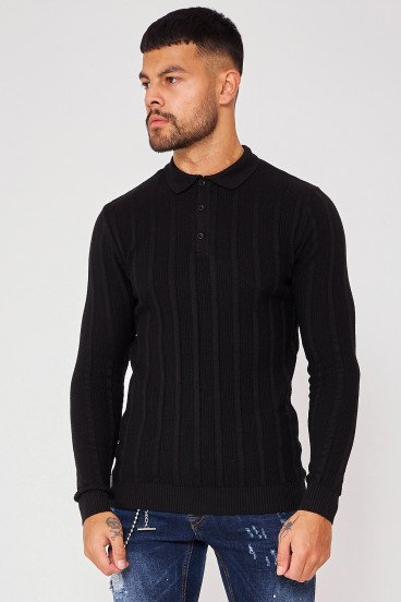 Pull noir col polo maille en relief