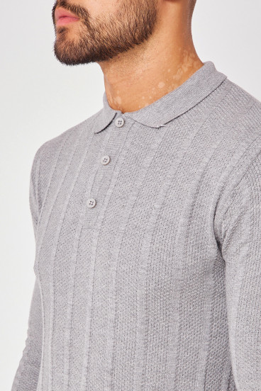 Pull gris col polo maille en relief