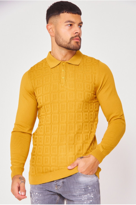 Pull moutarde col polo maille en relief