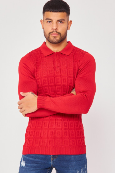 Pull rouge col polo maille en relief