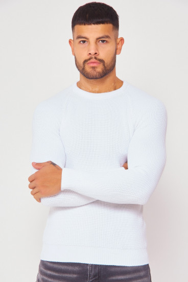 Pull blanc en maille col rond
