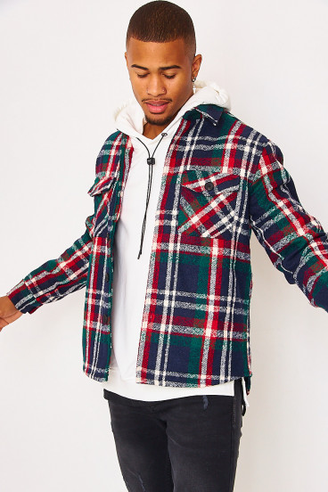 White and brown check shirt jacket in navy