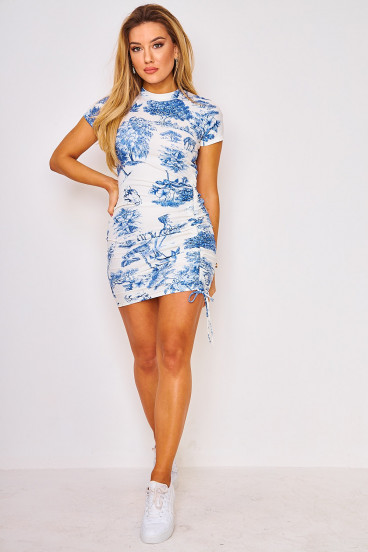 Robe resserrable blanche illustrations bleues