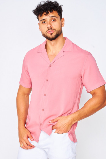 Chemise manches courtes rose