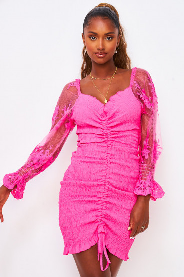 Robe rose à froncer manches tulle