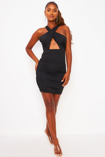 Cross front halter ruched low back mini dress in black