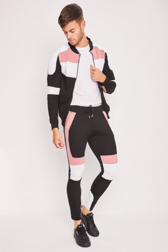 Ensemble color block noir/rose veste + jogging / Uniplay