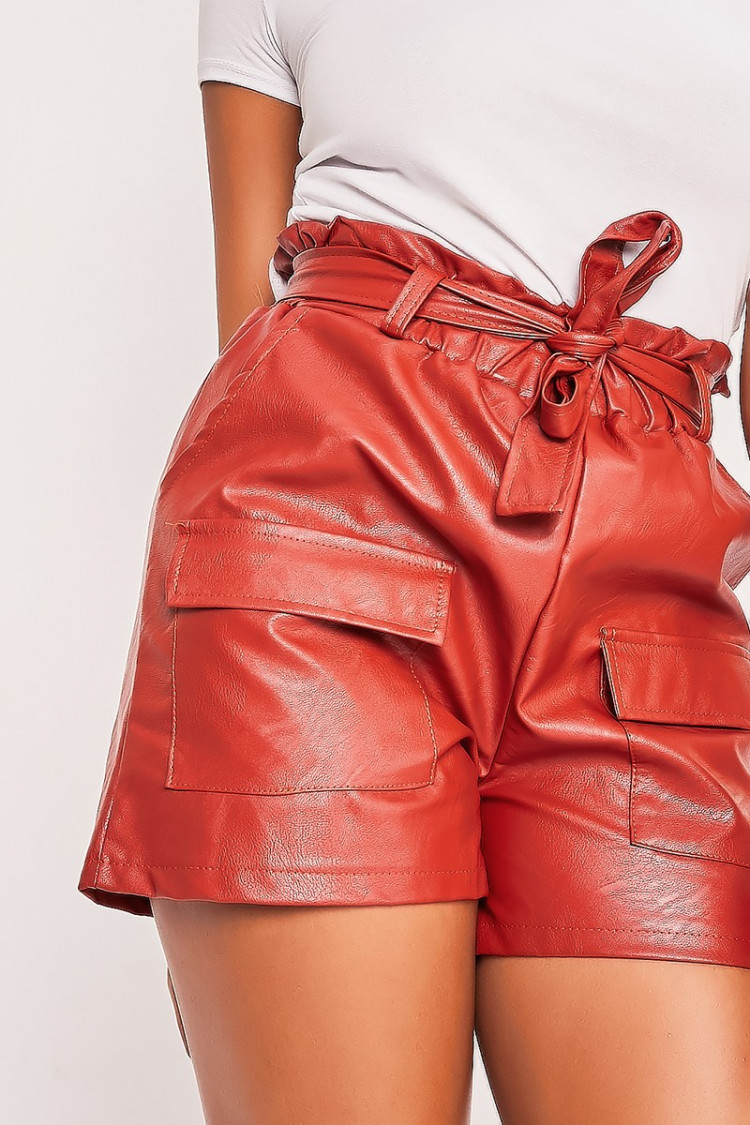 get cheap nice shoes new specials Short en simili cuir rouge paperbag