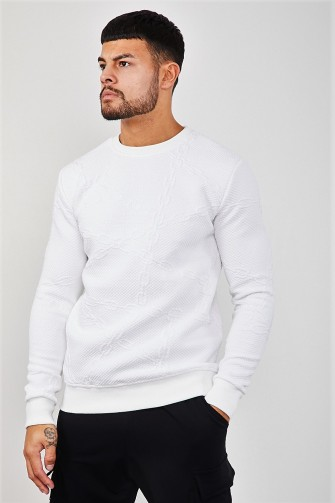 Sweat blanc chaines en relief / Uniplay