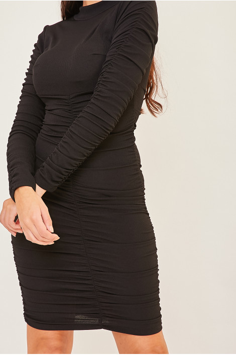 Robe Pull Noire Cotelee Froncee Brentiny Paris