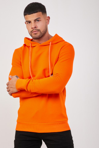 Sweat à capuche uni orange / Uniplay