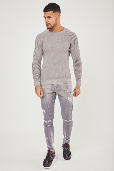 Pull maille fine gris